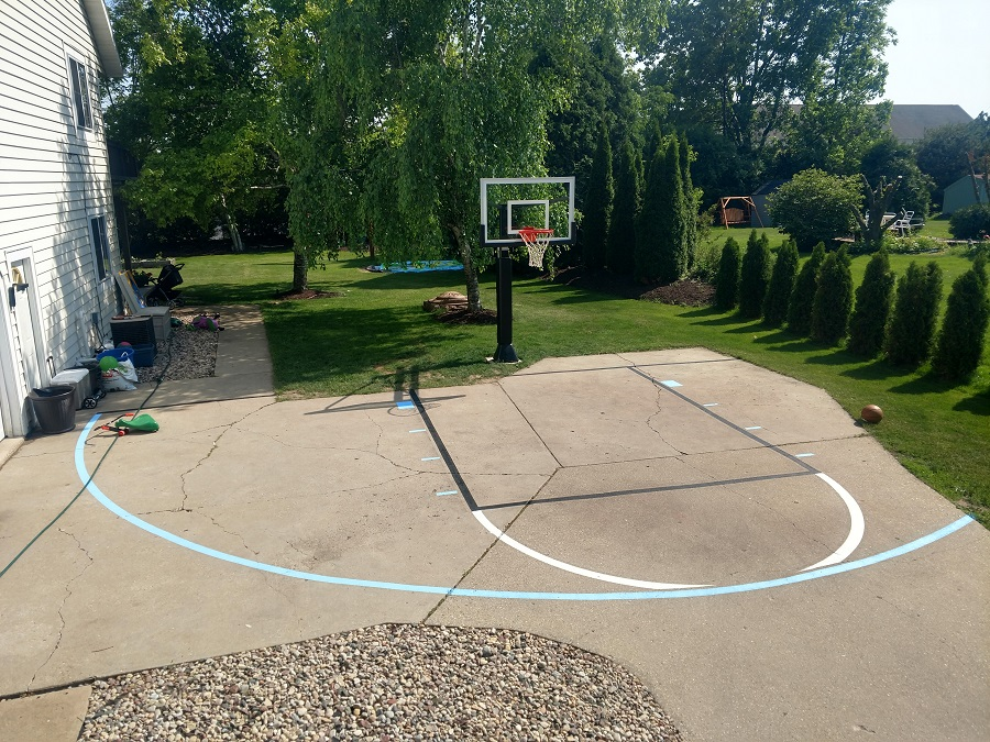 Basketball Court Lines Painting, Outdoor Basketball Court Lines Paint