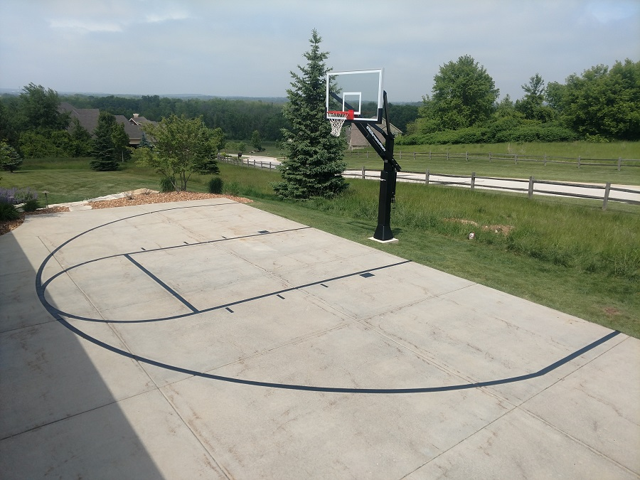 Basketball Court Lines Painting, Outdoor Concrete Basketball Court Paint